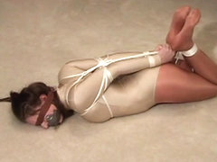 Teen hogtied and gagged in leotard