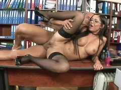 Busty Angelica Heart gets it on at work with her cunt hungry boss