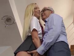 Gorgeous Schoolgirl Pleasing Old Mans Cock