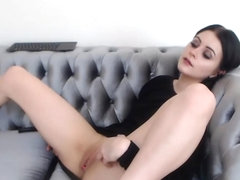 Small brunette figering her pussy on webcam