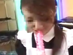 Cute Little Maid Licks On A Lollypop Before She Licks On Hi