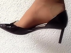 Excellently shoeless and dangling with louis vuitton high heels