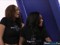 Two black women sharing on warm cum from a white hard cock