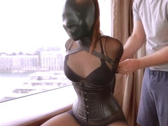 Japanese girl mild breath play in leather hood