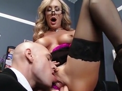 Spicy busty mom Brandi Love giving very hot blowjob