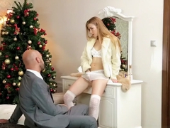 Alexis Crystal's tight pussy gets her Christmas gift