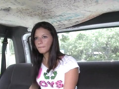 Petite amateur Bianca Jacobs gets in to bang bus