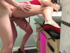 Fuck My Wet Pussy In My Hotel Bathroom, (Long Legs With High Heels)