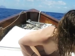 after interrupted foreplay on the boat makes her cum under the italian sun