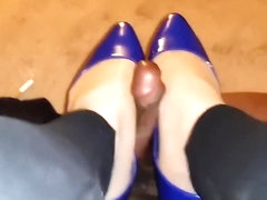 blue ebony flats footjob