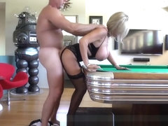 Hubby Fucks Neighbor Bent Over Pool Table