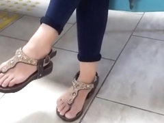 her cute sexy feets, dangling natural fresh toes