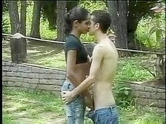 Latin guy sucking outdoor