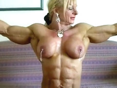 Strong muscular female bodybuilder nude