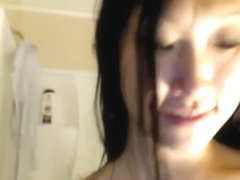 SEXY LONG HAIR ASAIN PLAYS IN THE SHOWER