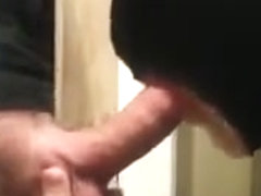 Hot sucking action at the homemade glory hole 21