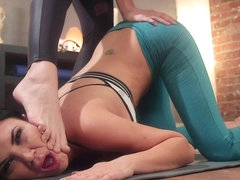Busty Milf takes anal on pilates ball