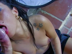Gold-skinned Tattooed Lady Sucks And Fucks