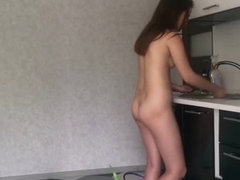 young girl cooking without clothes naked sexy sweet body