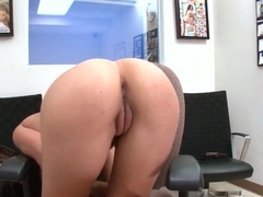 Shy babe demonstrates her big butt and all other secrets