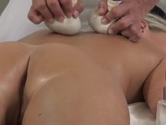 Massage Rooms Young innocent blonde has oil rub down before riding big cock