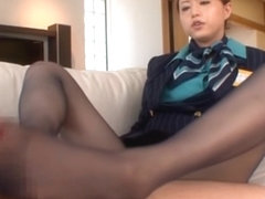 Stewardess Akiho Yoshizawa works magic with her feet in pantyhose