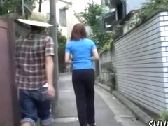 Pants sharking attack with tall Asian bimbo being caught off her guard