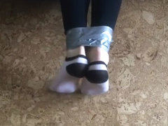 Ankle socks trapped under bed