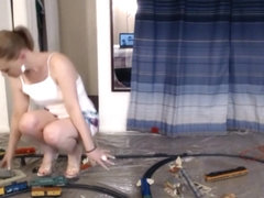 She crushes and pisses upon ex-boyfriends model railroad