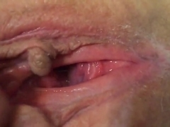 Wifes pussy cum real female orgasm labia clit juicy wet