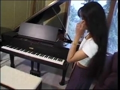 Lusty Lynn shows up for piano lessons in petticoat