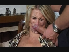 Hesitant MILF fucked in throat, pussy and ass