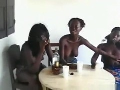 3 african girls do a naked booty seduction dance