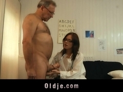 Young lady doctor sucking and fucking old patient