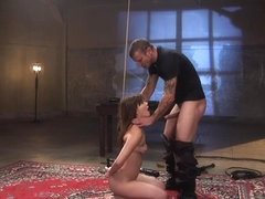 Babe in bondage fucked and face jizzed