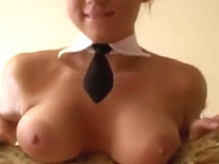 Blonde with big tits strips