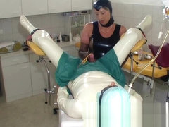 rubber nurse have fun with patient cock