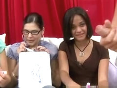 Cfnm babes laughs at naked mans cock