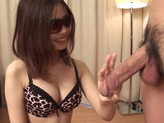 Busty Asian Lass With Glasses On Sucking A Very Large Member