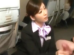 Chubby Japanese dad enjoy the service from stewardess
