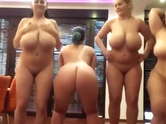Busty milfs showcase and clap their butts twerk on webcam