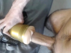 huge greek cock enjoys slowly fucking a fleshlight