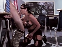 Hot teacher Audrey Bitoni is scolding her student for bad homework