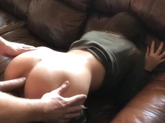 Army female banged in ass on sofa.High definition