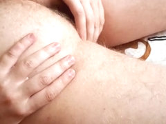 Easy day wanking  gentle asshole and nuts touching