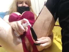 Sissy gets creamied after training her arse to take big toys