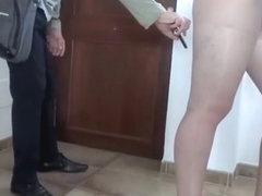 Flashing in pantyhose delivery guy (Elena) First time