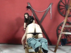Caning with a thin horsewhip