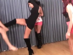 3 hot princesses in boots and heels ballbusting