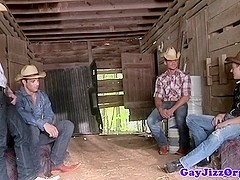 Cumshot loving cowboy outdoors riding dick